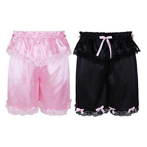 ACSUSS Mens Sissy Satin Boxer Shorts Bloomers Crossdress Loose Lounge Short Pants
