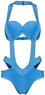 ZHRUI Costume da Bagno Intero è Anche esposto in Metallo Snaps Beach Resort Swimsuit, Serie L Blu (Colore : Come Mostrato, Dimensione : Taglia Unica)