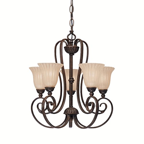 Tannery Bronze Single Light (Tannery Bronze Single-Tier Mini Chandelier with 5 Lights - 72in. Chain Included - 17 Inches Wide)