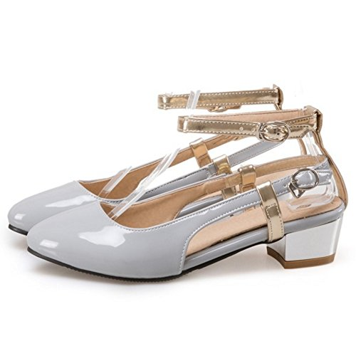 COOLCEPT Mujer Moda Correa de Tobillo Sandalias Tacon Ancho Medio Cerrado Zapatos Tamano Gris