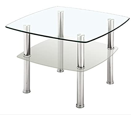 Fineboard Glass Coffee Table/Side Table 2 Tier, Glass Top And Silver Metal  Legs