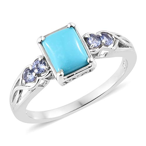 (925 Sterling Silver Platinum Plated Baguette Sleeping Beauty Turquoise Tanzanite Ring For Women Size 6)