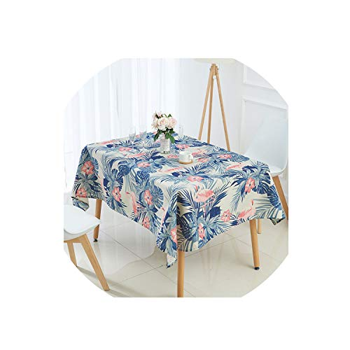 (Ge-store Animal Flamingo Tablecloth Tropical Palm Tree Leaves Linen Table Cloth,Y,140X140Cm)