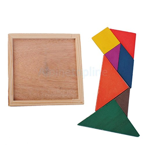Wooden Tangram IQ Game Jigsaw Brain Teaser Puzzle Baby Kid Educational Toys