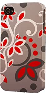 Grey & Red Floral Pattern Dimensional Case Fits Apple iPhone 4 or iPhone 4s