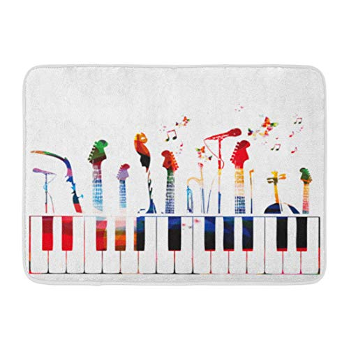 Emvency Doormats Bath Rugs Outdoor/Indoor Door Mat Piano Colorful Music Instruments Color Guitar Modern Graphic Song Bathroom Decor Rug 16