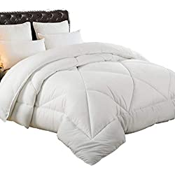 RISAR White Goose Down Alternative Quilted Comforter King - All Season Luxury Duvet Insert with Corner Tabs - 100% Hypoallergenic Polyester Fill - Machine Washable