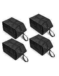 BAYA CORP - Juego de 4 bolsas de viaje para zapatos de nailon impermeable con cierre para hombres y mujeres (negro), 2 grandes y 2 extra grandes