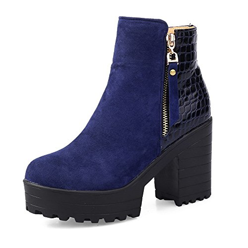 Closed Toe Blend Women's Materials Solid Boots AmoonyFashion High Round Blue Heels Zipper 8qgSnwA