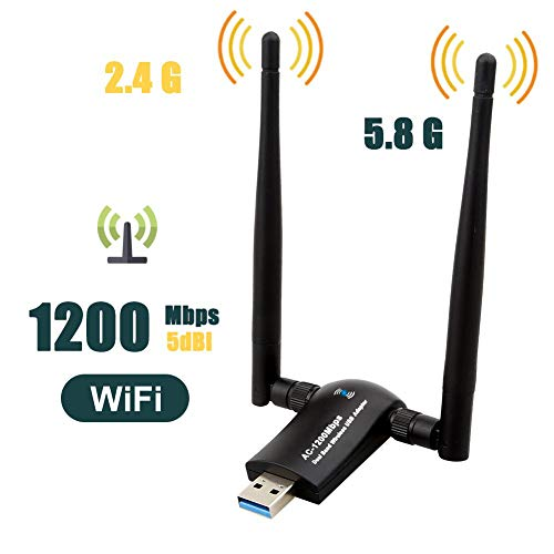 1200Mbps Wireless USB Wifi Adapter, QGOO Wifi Adapter,AC1200 Dual Band 802.11 ac/a/b/g/n,2.4GHz/300Mbps 5GHz/867Mbps High Gain Dual 2 X 5dBi Antennas Network WiFi USB 3.0 For Desktop, Laptop of Windo (Best Range Wireless Adapter)