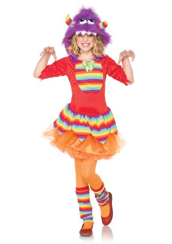 Leg Avenue Children's Rainbow Dress with Furry Monster Hood and Leg Warmers Costume