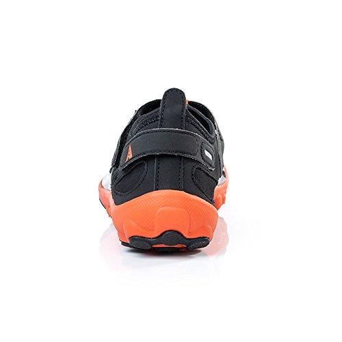 Yizer Waterschoenen, Heren Dames Lichtgewicht Ademend Mesh Aqua-schoenen Voor Zwemmen Wandelen Meer Strand Varen Zwart Oranje