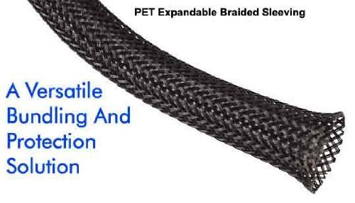 1/8 Inch PET Expandable Braided Sleeving- 10ft - Black by TechFlex (Wire Braid)