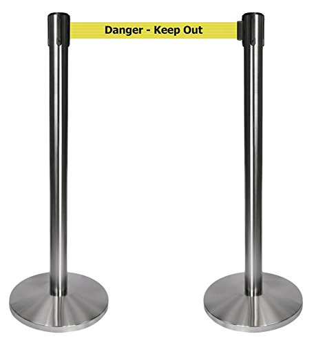 10 length yellow Danger Keep Out belt QueueWay PLUS satin chrome post Set of 2 2 wide QPLUS-1S-YD