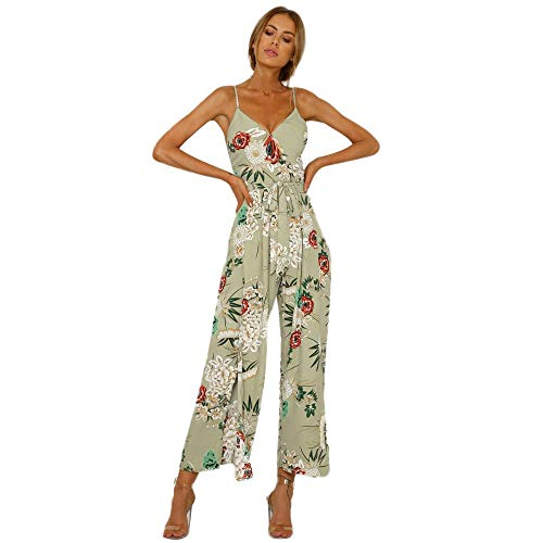 New Women Floral Romper Jumpsuit Sexy Beach Overlay Boho Wide Leg High Waist Pants Strappy Slit Long Trouser Playsuits Green L ()
