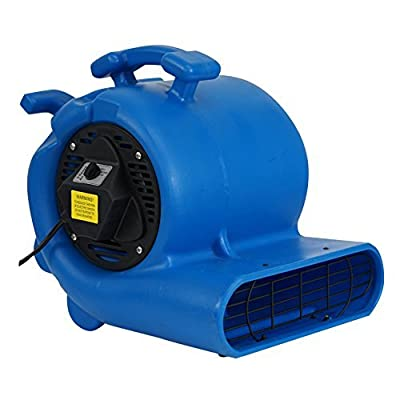 MOUNTO 3-Speed 3/4HP 3000CFM Air Mover Floor Carpet Dryers With GFI Dual Outlet (Blue)