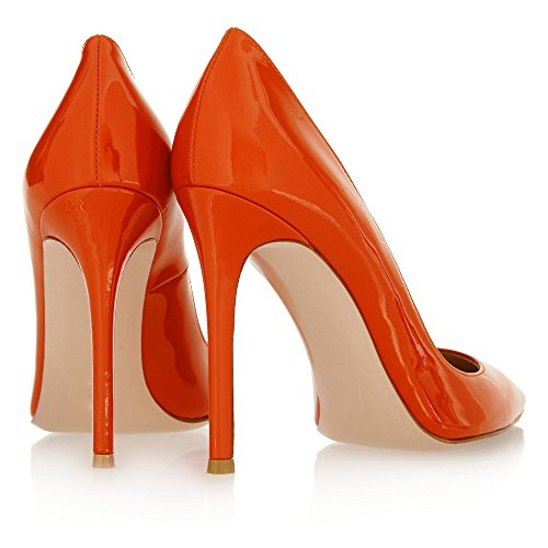 12cm Womens Patent Pumps Sandals Stiletto Heels 12cm High Office Orange Heel Toe Pointed Shoes Work Court Slim Closed Ubeauty BUdqw1Cxw