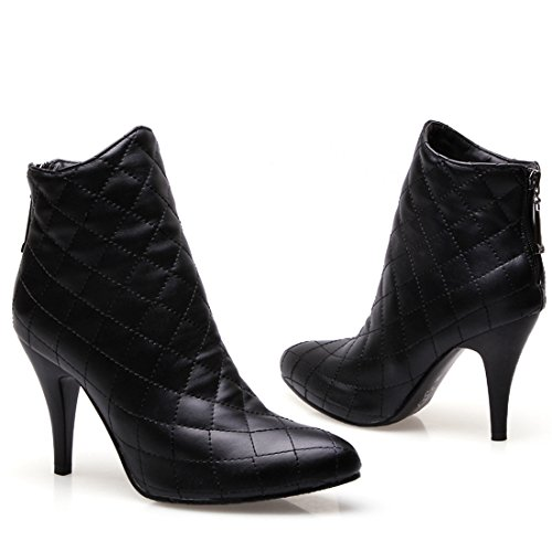 Vitalo Heel Ankle Pointed Shoes Toe Ladies Boots Womens Zip Black Booties Mid COxCw6q