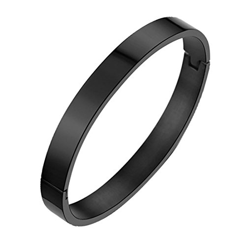 7th Element Polished Stainless Steel Bracelet Classical Band Bangle for Womens Mens (Black,8mm 7.1inch)