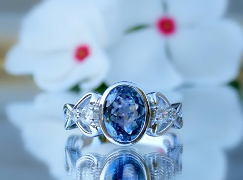 Tanzanite and Diamond Ring, Tanzanite Ring, Tanzanite Engagement Ring, 14kt, White Gold, Size 6