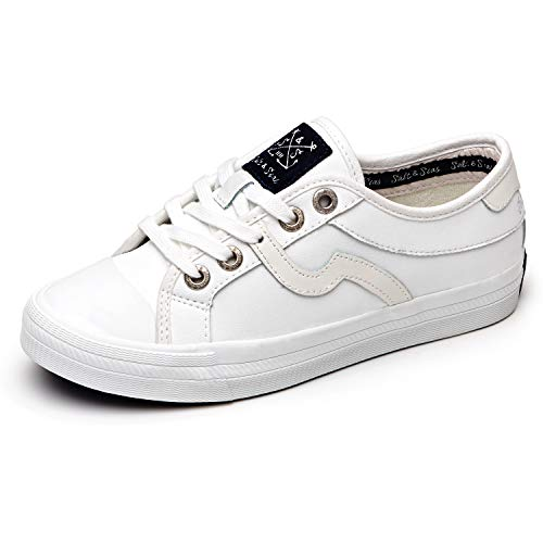 (Salt&Seas Women Adults Fashion Sneakers Low Top Lace Up Casual Shoes White)