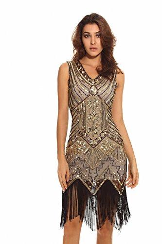 Whoinshop Women 1920s Gatsby Retro Sequin Tassel Beaded Fringed Flapper Dress (XL, Gold) (Cute Flapper Costumes)