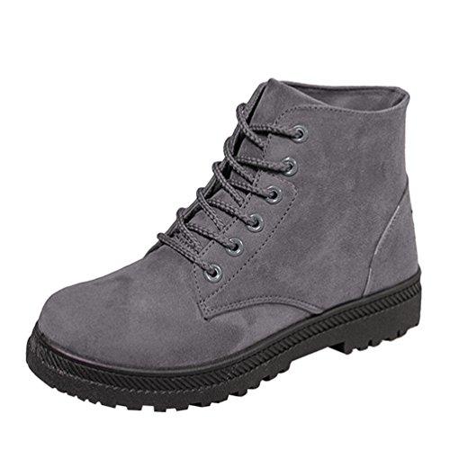 Baymate Retro Botas de Nieve Mujer Otoño Invierno Calentar Botines Planos Anti-deslizante Zapatos Boots de Trabajo Grey