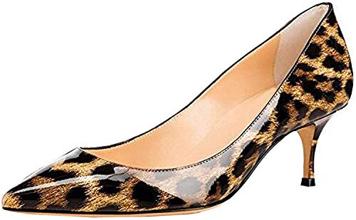 (Ayercony Pumps for Woman, Kitten Heel Pumps Pointed Toe Shoes Slip-On High Heel for Dress Office Leopard Print Size 8 US)