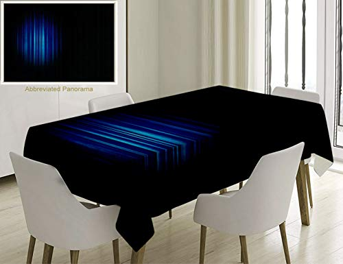 Unique Custom Cotton and Linen Blend Tablecloth Navy Blue Decor Single Hollywood Show Light Themed Theater Curtain Design Artwork Navy Blue and WhiteTablecovers for Rectangle Tables, 70 x 52 inches ()