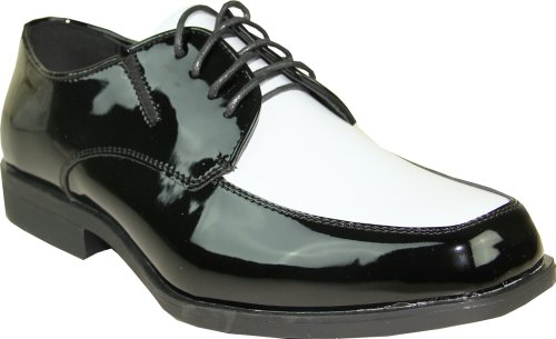 VANGELO Men Tuxedo Shoe TUX-7 Two-Tone Color Fashion Moc Toe with Wrinkle Free Material Black&White Patent 15W