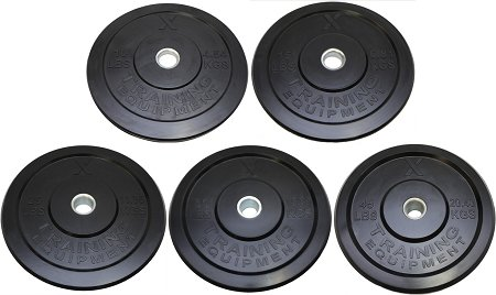 Premium Black Bumper Plate Solid Rubber with Steel Insert - Great for Crossfit Workouts (260lb Set (2x10lb, 2x15lb, 2x25lb, 2x35lb, 2x45lb))