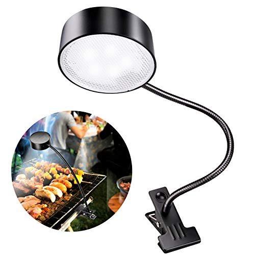 Solar Grill Light - LeiDrail Solar Barbecue Grill Light Super Bright LED Grill Lights for BBQ Flexible Gooseneck Shedding Clip Lamp for Outdoor Grilling Charcoal Electric Desk Work Bench Weather Resistant