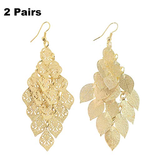 Leaf Cluster Pendant Earring Fashion Boho Dangle Earrings with 2 Different Colors for Women Girls (Gold Leaf Earrings)