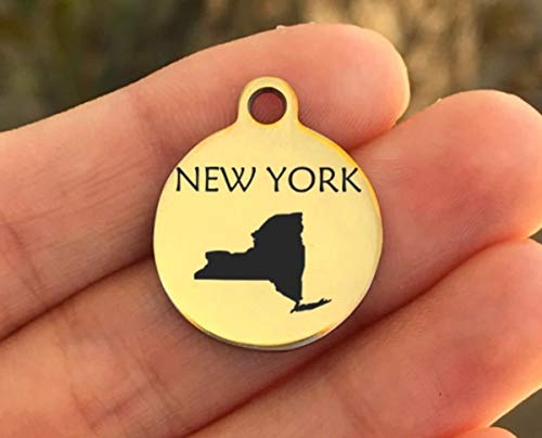 United States Stainless Steel Charm - New York - Laser Engraved - Made To Order - Gold Plated - Quantity Options - ZF99