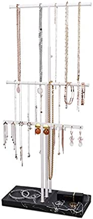 LKKL Jewelry Stand Organizer, 3 Tier Table Top Necklace Holder With Adjustable Height, Jewelry Tray Base For E