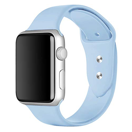 YunTree Compatible with Apple Watch Band 38mm/40mm S/M Size iWatch Sports Band Replacement for Women Man Apple Watch Series 4/3/2/1 Size Comfortable Silicone Strap-Light Blue