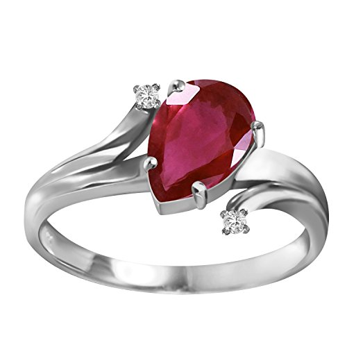 1.51 Carat 14k Solid White Gold Ring with Genuine Diamonds and Natural Pear-Shaped Ruby - Size 7