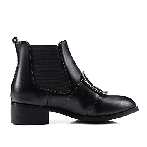 Solid Low Soft Boots Women's Heels Black Toe Allhqfashion Top Material Round Low Closed gYW01w