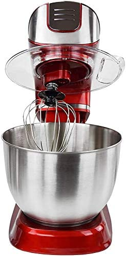 WLKQ Robot Pâtissier Robot Cuisine Multifonctions 1000W - Bol De 5 L avec Dispositif Anti-Éclaboussures - Livré avec Fouet Batteur, Fouet Ballon Et Crochet De Pétrissage - Rouge