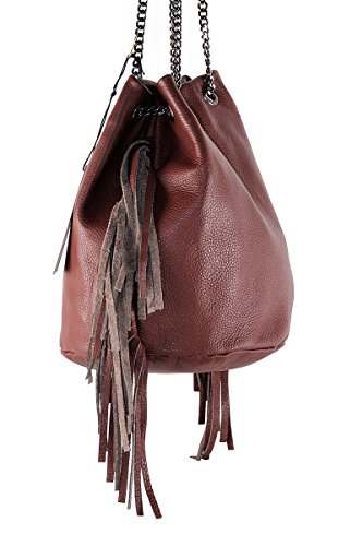 Sac in 100 Femme in Made GIULIA Italy Bucket Brun BORDERLINE Cuero YwU4qY