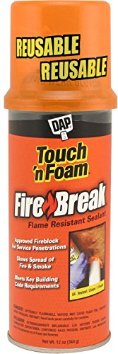 - Touch 'n Foam Dap 10012 FireBreak Flame Resistant Sealant, 12 oz., Orange