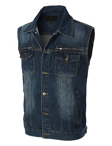 OLLIN1 Mens Vintage Button Down Denim Jean Vest with Pockets