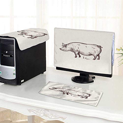 (UHOO2018 Computer Three-Piece dust Cover Pig Serie Farm Animals Graphics Draw Sketch Vintage engrav Style Protect Your Computer /24