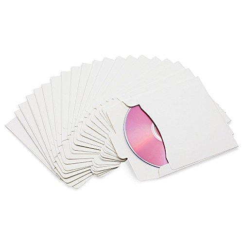 Fundas de papel para CD y DVD, con soporte para CD y DVD, Blanco, 10Pcs