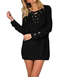 Women's Lace Up Front V Neck Long Sleeve Knit Pullover...