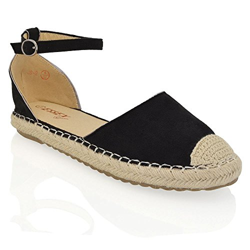 Essex Glam Womens Synthetische Casual Vakantie Enkelband Platte Espadrille Sandaal Schoenen Zwart Faux Suede