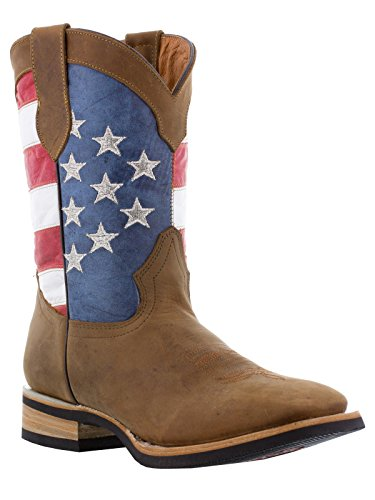 Texas Legacy - Men's Brown USA Flag Leather Cowboy Boots ...