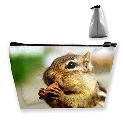 Makeup Bag Cosmetic Nut Animal Squirrel Portable Cosmetic Bag Mobile Trapezoidal Storage Bag Travel Bags with Zipper ()