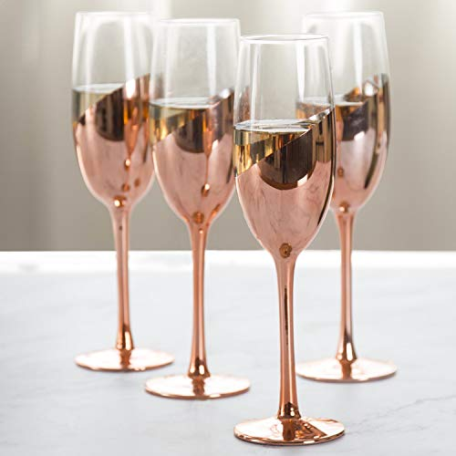 MyGift Modern Champagne Flute Glasses in Rose Gold, Set of 4 (Flutes Hand Painted Champagne)