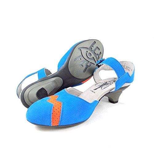 Heel Electric Poppy Closed with Fly Beep Blue Orange Toe Kitten London Sandal vqn0Z8w